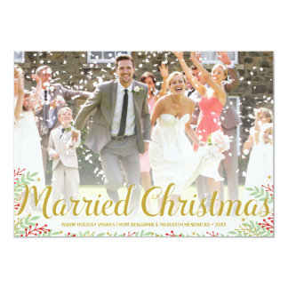 Married Christmas | Newlyweds Holiday Photo Card 13 Cm X 18 Cm Invitation Card