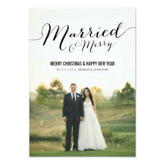 Married Christmas Photo Flat Cards 13 Cm X 18 Cm Invitation Card