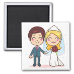 Married Couple Holding Hands Square Magnet