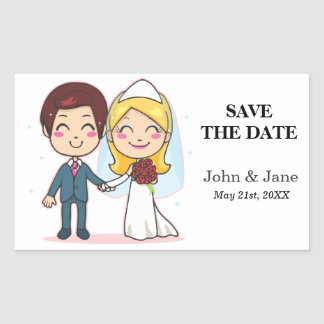 Married Couple Holding Hands Rectangle Sticker