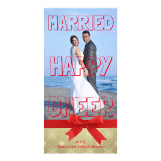 Married Happy Cheer Red Block - Photo Card