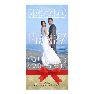 Married Happy Cheer White Block - Photo Card