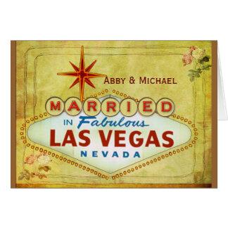 Married in Fabulous Las Vegas - Vintage Greeting Card