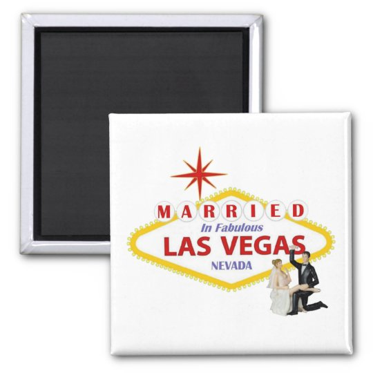 MARRIED In Fabulous Las Vegas with Bride & Groom M Square Magnet