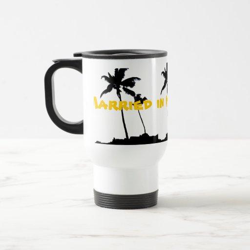 Married in Hawaii Palm Trees Mugs