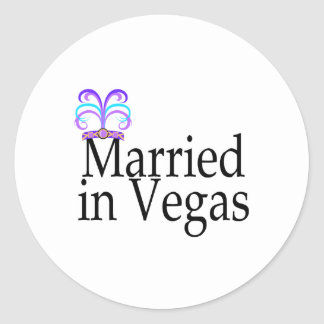 Married In Vegas Round Sticker