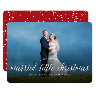 Married Little First Christmas Holiday Photo Card 13 Cm X 18 Cm Invitation Card