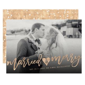 Married & Merry Brush First Christmas Photo Card 13 Cm X 18 Cm Invitation Card