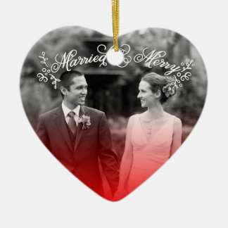 Married & Merry Ceramic Heart Decoration