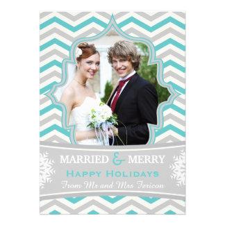 Married Merry chevron Christmas photo card