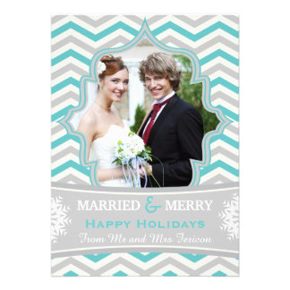 Married & Merry chevron Christmas photo card