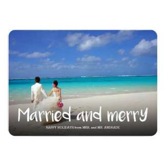 Married Merry Christmas Newlywed Holiday Photo 5 13 Cm X 18 Cm Invitation Card