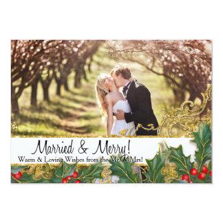 Married Merry Christmas Newlywed Horizontal Photo Card