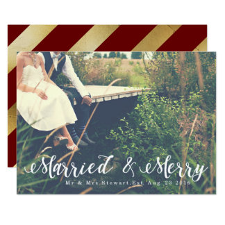 Married & Merry   First Christmas Photo 13 Cm X 18 Cm Invitation Card