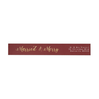 Married & Merry | First Christmas Wraparound Return Address Label