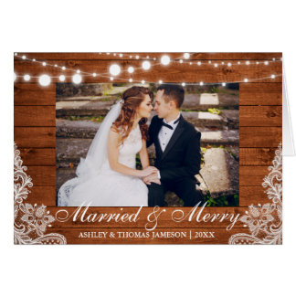 Married & Merry Holiday Rustic Card