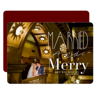 Married & Merry | Married Couple Holiday Photo 13 Cm X 18 Cm Invitation Card