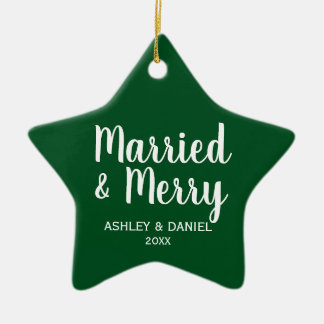 Married & Merry Newlywed Christmas Green Star Christmas Ornament