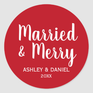 Married & Merry Newlywed Holiday Red Round Large Classic Round Sticker