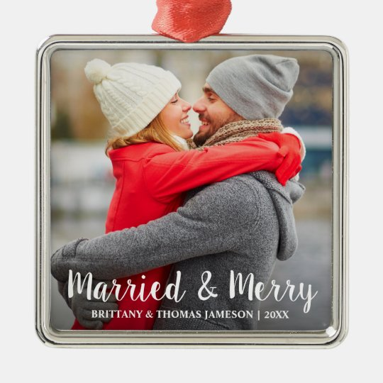 Married & Merry Newlywed Photo Christmas Ornament