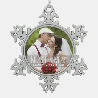 Married & Merry Photo Christmas Couple Ornament