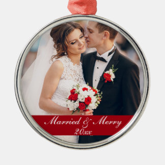 Married & Merry Wedding Photo Ornament R