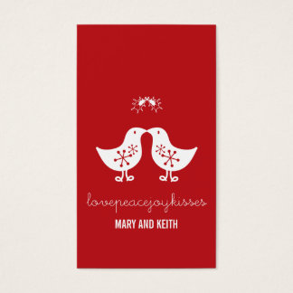 Married Mistletoe Kissing Chicks Holiday Gift Tag Business Card
