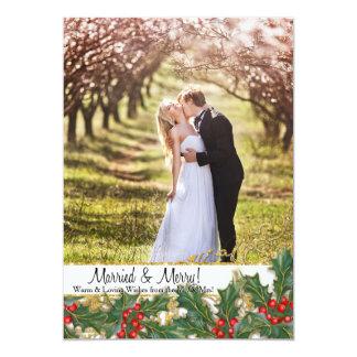 Married n Merry Christmas Newlywed Photo Holly 13 Cm X 18 Cm Invitation Card