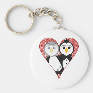 Married Penguin Lace Heart Keychains