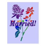 Married Rainbow Flowers Post Card