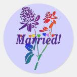 Married Rainbow Flowers Round Sticker