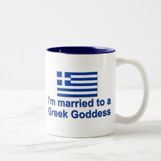Married to a Greek Goddess Two-Tone Coffee Mug