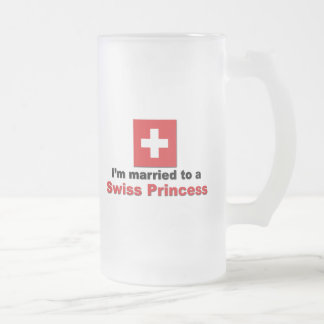 Married to a Swiss Princess Frosted Glass Beer Mug