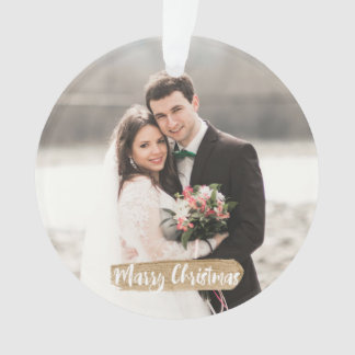 Marry Christmas Newlywed Ornament Gold