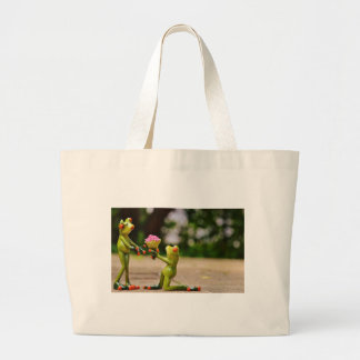 Marry Me cute funny frogs Jumbo Tote Bag