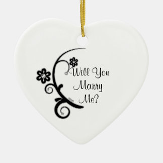 Marry Me Faux Diamond Flower Engagement Ornament