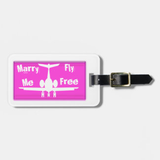 Marry Me Fly Free Pink And White Luggage Tag