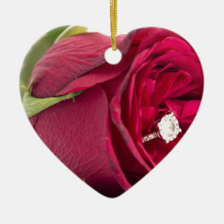 Marry me? Red Rose with diamond ring Christmas Ornament
