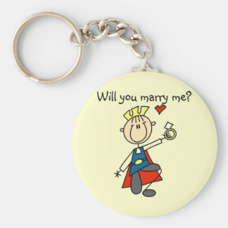 Marry Me Wedding Proposal Tshirts and Gifts Basic Round Button Key Ring