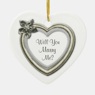 Marry Me White Ceramic Heart Engagement Ornament