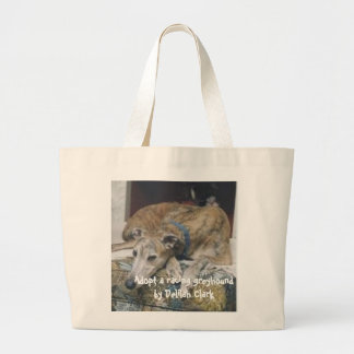 Mars, Adopt a racing greyhound by Delilah Clark Large Tote Bag