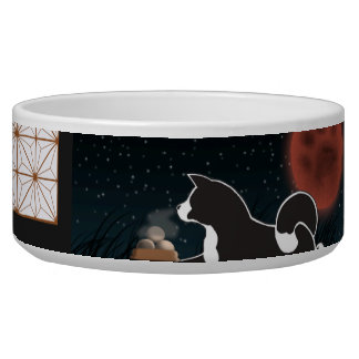 MARS Akita Harvest Moon Large Ceramic Pet Bowl