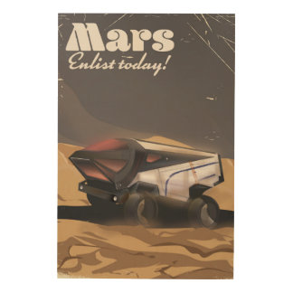 Mars, Enlist today! Retro Military space poster Wood Print