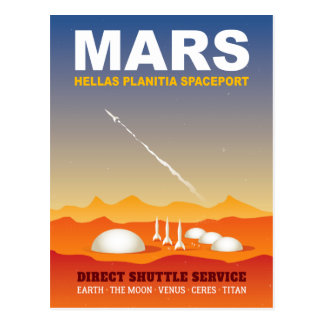 Mars Hellas Planitia Space Port Postcard