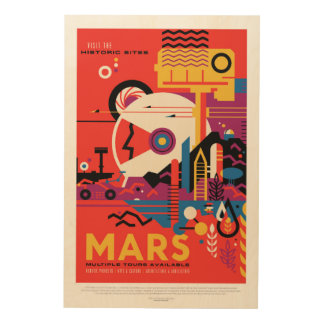 Mars Historic Sight holiday advert space tourism Wood Print
