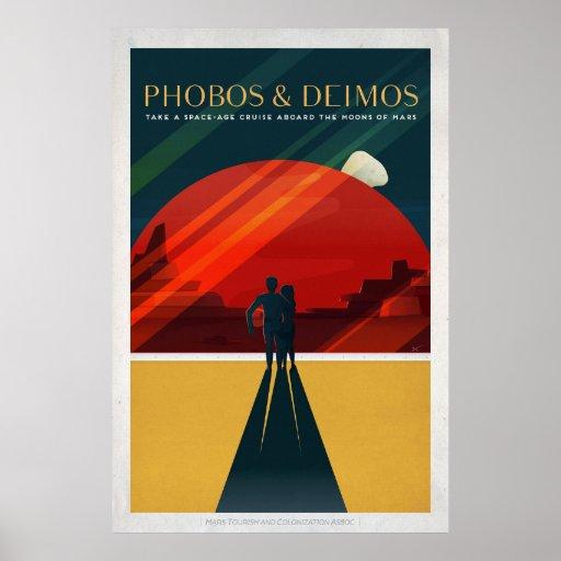 Mars Moons Phobos and Deimos Retro Space Tourism