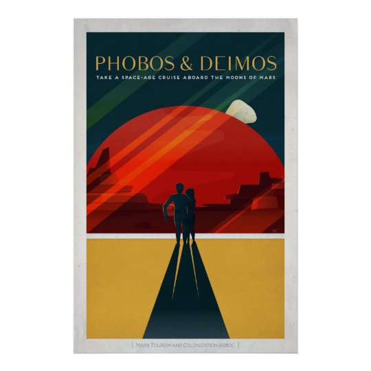 Mars Moons Phobos and Deimos Retro Space Tourism