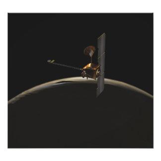 Mars Odyssey spacecraft over martian sunrise Photographic Print