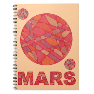 Mars Red Planet Love Fun Space Geek Blank Journal Spiral Notebooks