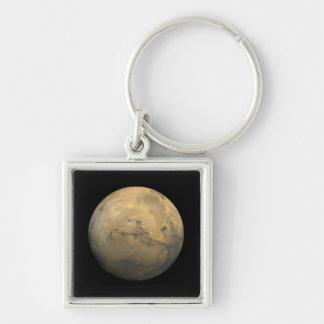 Mars Silver-Colored Square Key Ring